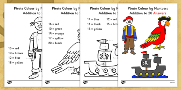 Pirate Addition to 20 Colour by Numbers - pirate, addition to 20, addition, colour by numbers, colour, number, add