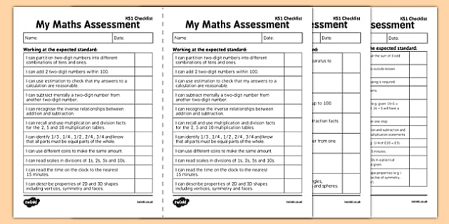 KS1 Maths Exemplification - I Can Statements Checklist