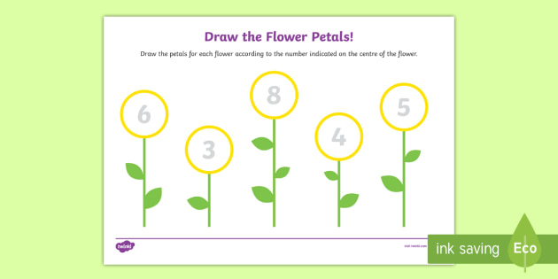 Draw The Flower Petals Counting Worksheet Activity Sheet