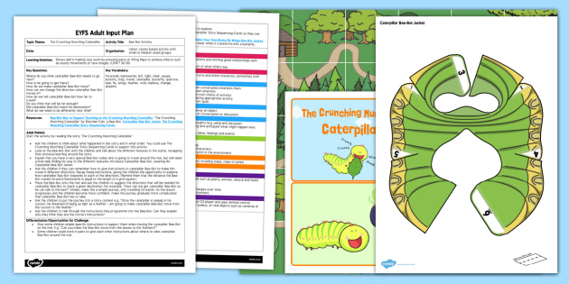 EYFS Bee-Bot Activity Adult Input Plan and Resource Pack to Support Teaching on the Crunching Munching Caterpillar - The Crunching Munching Caterpillar, Sheridan Cain, life cycle of a butterfly, literacy, reading, ICT