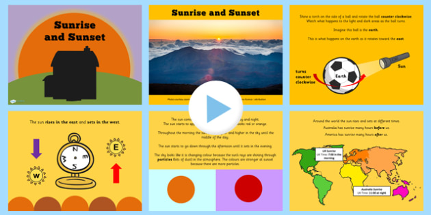 KS1 Science Sunrise and Sunset Seasons Lesson Teaching PowerPoint