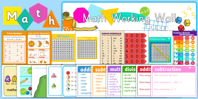 Math Working Wall Display Pack - maths, working wall, pack