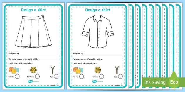 Fashion Design Studio Clothing Design Worksheet / Activity Sheet