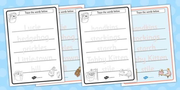 The Tale of Mrs Tiggy Winkle Trace the Words Worksheets - mrs tiggy winkle
