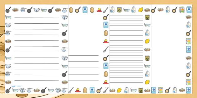 Pancake Recipe Page Borders - pancake, recipe, borders, write