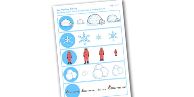 Winter Size Matching Worksheet - winter, size matching, matching