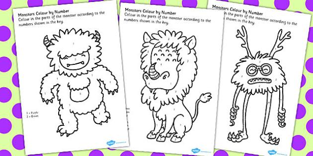 Monster Colour by Number Worksheets - monster, colour, number