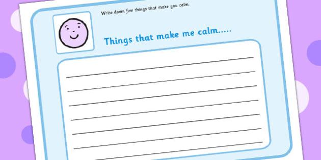 Write Down 5 Things That Make You Feel Calm - draw, feelings