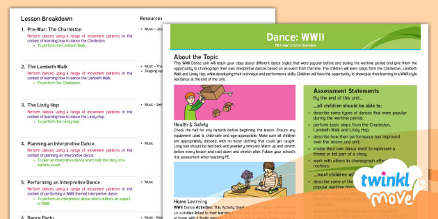 FREE! - Twinkl Move PE - Y5 Dance: WWII Unit Planning