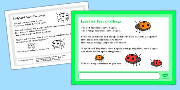 Ladybird Spot Maths Challenge A4 Display Posters - Maths, Spots