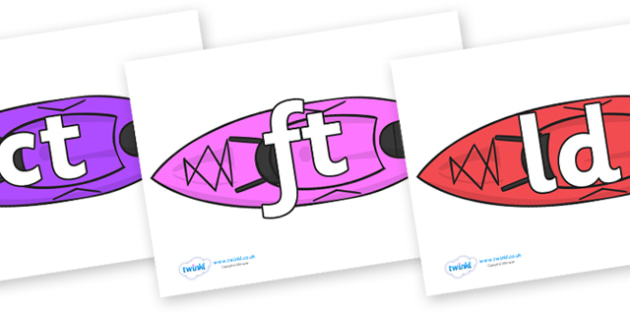 Final Letter Blends on Kayaks - Final Letters, final letter, letter blend, letter blends, consonant, consonants, digraph, trigraph, literacy, alphabet, letters, foundation stage literacy
