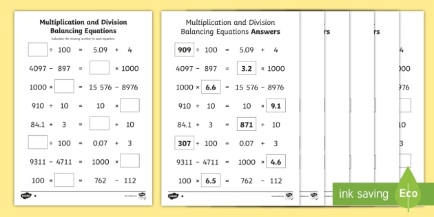 UKS2 Multiplication and Division Balancing Problems Differentiated ...