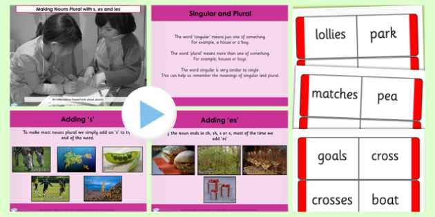 making nouns plural with s es and ies lesson teaching powerpoint