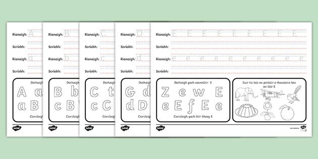 Alphabet Practice Worksheets Gaeilge (teacher Made)