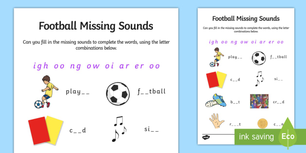 Football Themed Missing Sounds - football, phase 3, sound
