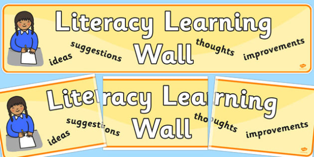 Literacy Learning Wall Display Banner - literacy, literacy display, learning wall, display banner, banner, banner for display, header, display header
