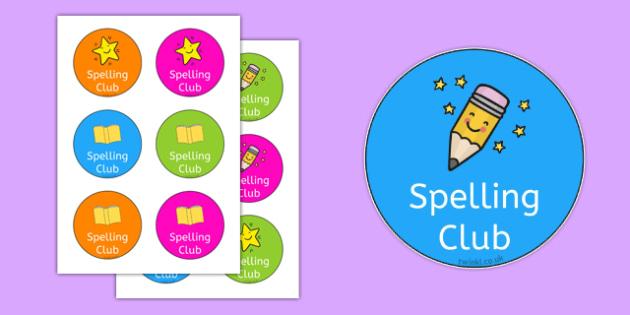Spelling Club Badges - spelling club, badges, spelling, club, spell, badge