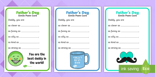 Fathers Day Simile Poem Card Fathers Day Simile Poem Card
