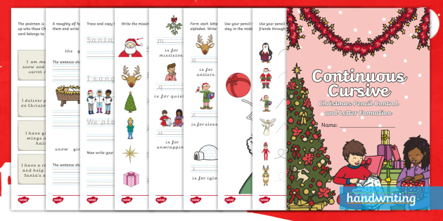 christmas pencil control and continuous cursive letter formation activity. Black Bedroom Furniture Sets. Home Design Ideas