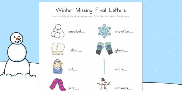 Winter Final Letters Worksheet / Activity Sheet - Winter, phonics, letters, sounds, last letter, last sound, final letter, final sound, missing letter