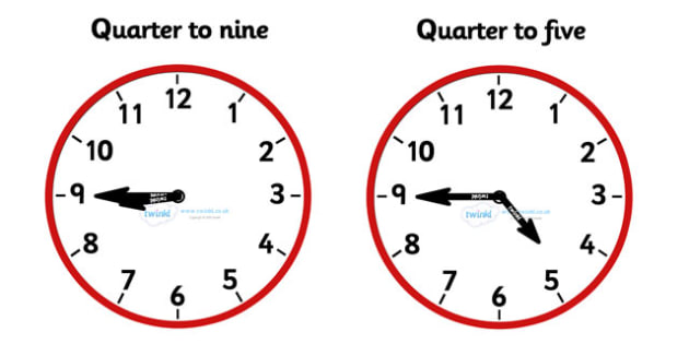 Analogue Clocks - Quarter To - education, home school, child development, children activities, free, kids, math games, worksheets, number work