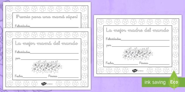 Diplomas Para Colorear Día De La Madre Día De La Madre
