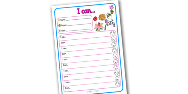 Themed Target and Achievement Sheets Flower Themed I Can - Target and Achievement Sheet, I Can Sheet, Target Sheet, Flower Themed
