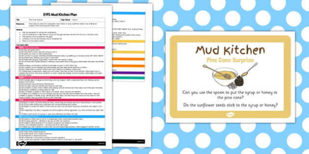 Mud Kitchen Ideas Eyfs.Pine Cone Surprise Eyfs Mud Kitchen Plan And Prompt Card Pack