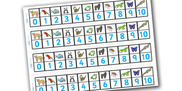 Numbers 1-10 Numbertrack (Jungle & Rainforest) - Maths, Math, number track, Jungle, Rainforest, numbertrack, Counting, Numberline, Number line, Counting on, Counting back, snake, forest, ecosystem, rain, humid, parrot, monkey, gorilla