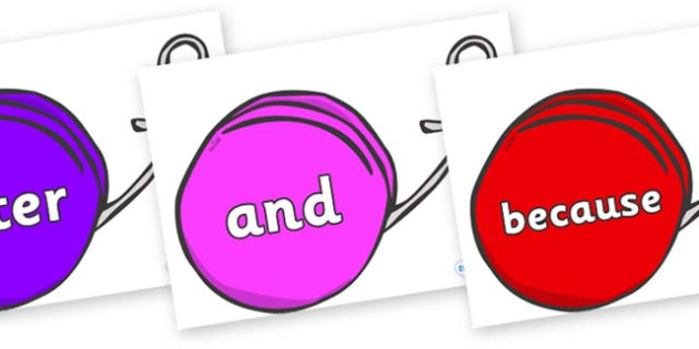 Connectives on Yo Yos - Connectives, VCOP, connective resources, connectives display words, connective displays