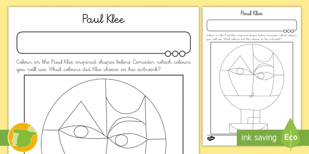 New Paul Klee Colouring Page Expressionism Cubism Abstract Art