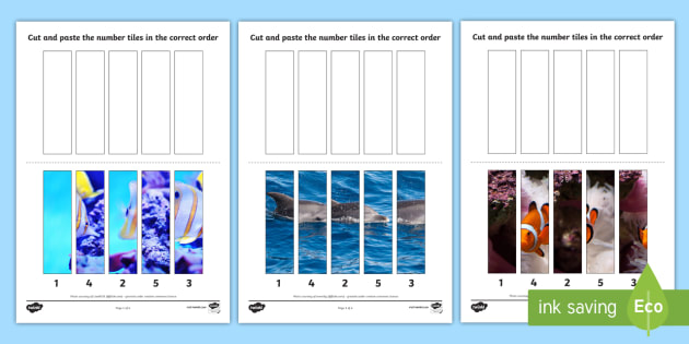 Under the Sea Themed Number Sequencing Photo Puzzles - numbers
