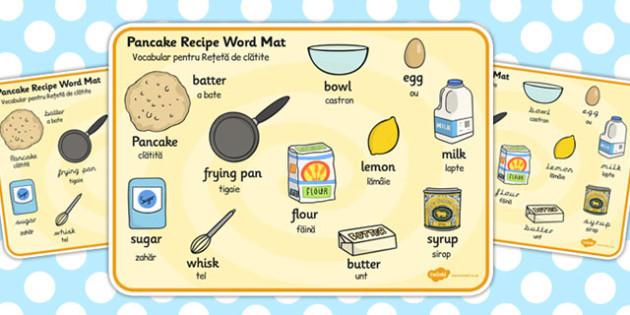 Pancake Recipe Word Mat EAL Romanian Translation - romanian