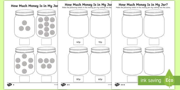 How Much Money Is in My Jar? Counting in 10s Worksheets - Y1 ...