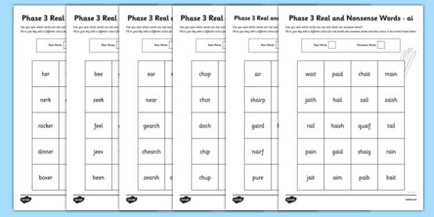 Phase 3 Colour by Phoneme Real and Nonsense Words Worksheet / Activity Sheet Pack - phase 3, phase three, colour by phoneme, real and nonsense words, worksheet / activity sheet, pack, worksheet