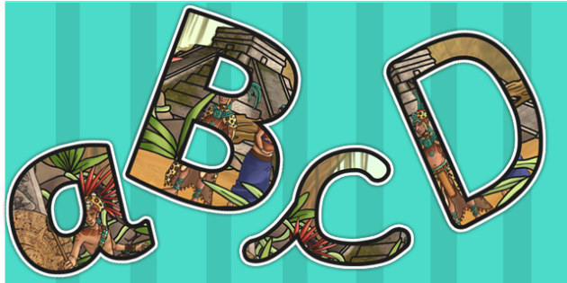 Ancient Mayans Themed Size Editable Display Lettering - mayan