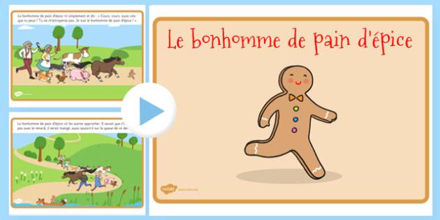Le bonhomme de pain d'épice Story PowerPoint French - french, gingerbread man, story, powerpoint