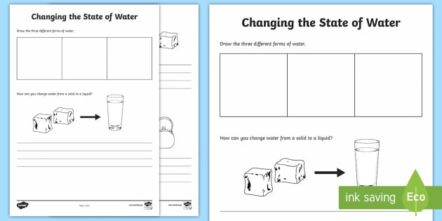 Changing Water Worksheet / Activity Sheet - Water in Australia, reversible changes, ice, water, steam, liquid, solid, water vapour, worksheet, c