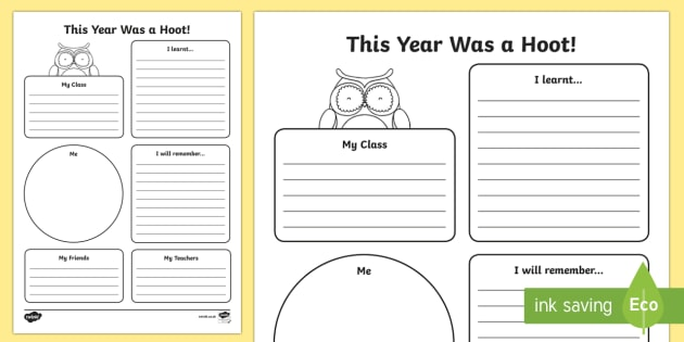 This Year Was A Hoot End Of Year Worksheet Activity Sheet