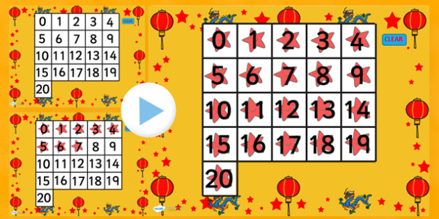 0-20 Chinese New Year Number Square PowerPoint - counting