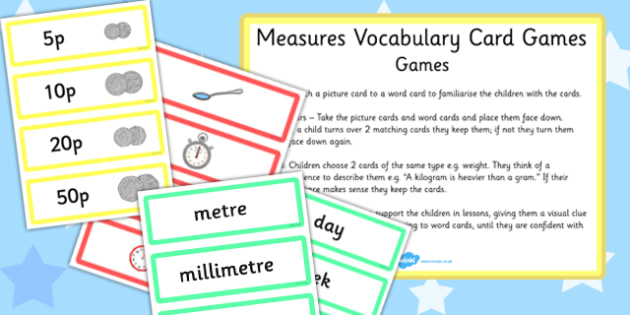 Measures Vocabulary and Picture Card Games - measure, vocabulary, picture