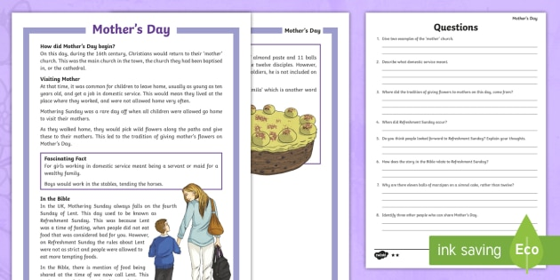 ks2 mother 39 s day differentiated reading comprehension activity. Black Bedroom Furniture Sets. Home Design Ideas