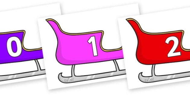 Numbers 0-50 on Christmas Sleighs (Multicolour) - 0-50, foundation stage numeracy, Number recognition, Number flashcards, counting, number frieze, Display numbers, number posters