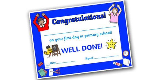 First Day Award Certificates Primary School - First Day Award Certificate, Primary School, First Day Certificate, Primary School Certificate