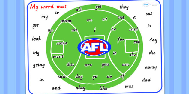 Australian Football League Themed Prep Word Mat - visual aid