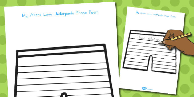 Pant Writing Frames to Support Teaching on Aliens Love Underpants - australia, aliens