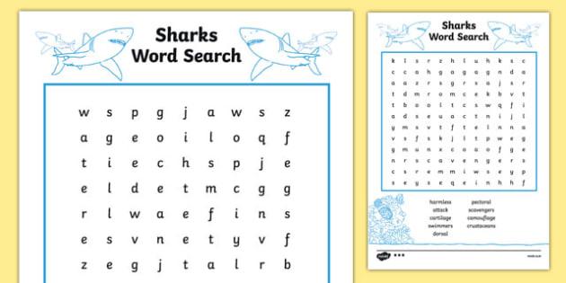 Australian Animals Years 3-6 Sharks Differentiated Word Search - australia, Australian Curriculum, animals, fish, sharks, activity, wordsearch