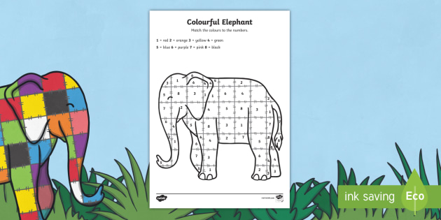 Colour By Number Sheets to Support Teaching on Elmer - australia, elmer, colour, number