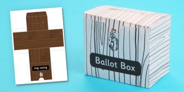 3D Ballot Box Template - 3d, ballot, box, template, craft, model