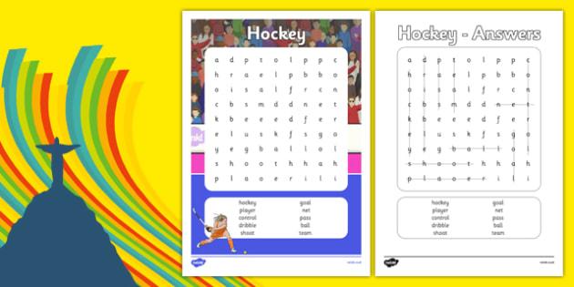 The Olympics Hockey Word Search - the olympics, rio 2016, 2016 olympics, rio olympics, hockey, word search